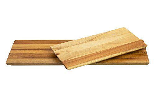 Terra Teak Wood Serving Platter and Cheese Board (2 Piece Set, 13 and 8 Inch Trays)