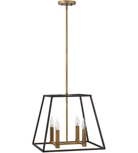 Hinkley 3334BZ Restoration Four Light Stem Hung Pendant from Fulton collection in Bronze/Darkfinish, from Hinkley