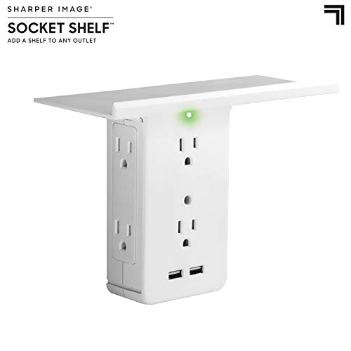 Socket Shelf- 8 Port Surge Protector Wall Outlet, 6 Electrical Outlet Extenders, 2 USB Charging Ports & Removable Built-In Shelf UL Listed ()