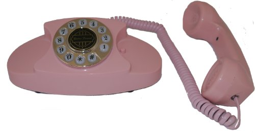 ShippingFree 1950s Princess Pink Classic Old Timey School Antique Vintage Novelty Looking Style Retro Push Button Rotary Dial Fashion Desk Phone Reproduction Replica