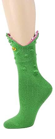 Foot Traffic - 3D Alligator Socks, Ferocious Fashion for Your Feet, Green (Women's Shoe Sizes 4–10)