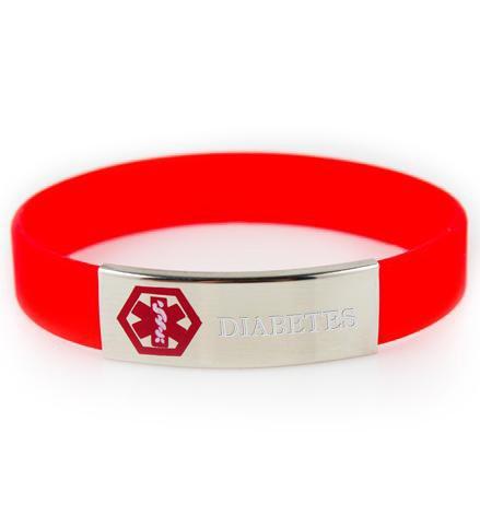 Le diabète de silicone / inox Slim médicales d'identification bracelet (rouge)
