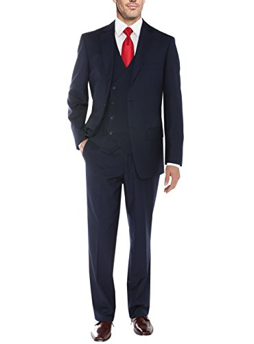 Tropical Wool Suits - Salvatore Exte Mens Suit Vested Three Piece Blazer Jacket Dress Vest Plus Pants (40 Long US / 50L EU/W 34