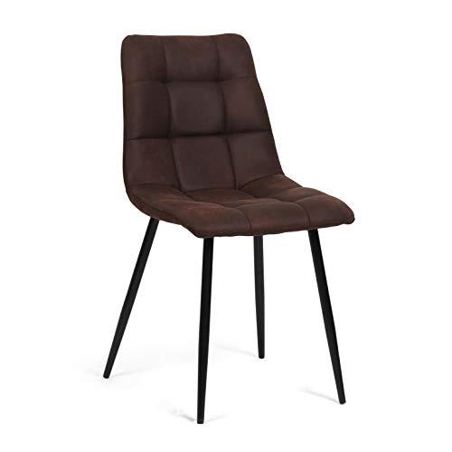 dicoro Pack 4 sillas de Comedor y Cocina Velvet Asiento Acolchado 4 Patas Negras tapizado Nobuck Chocolate: Amazon.es: Hogar