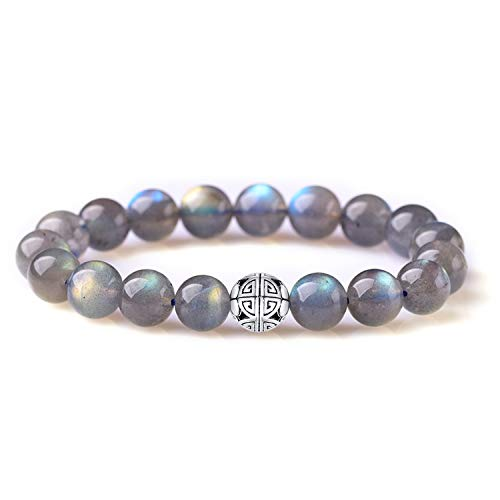 Men Women Semi-Precious Gemstones Healing Crystal Stretch Beaded Bracelet Unisex Bangle with 925 Sterling Silver Double Happiness Pendant (Labradorite) ()