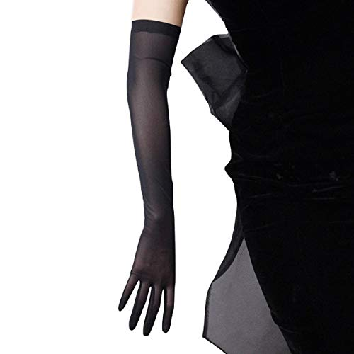 DooWay 20-inch Tulle Long Gloves Stretchy Lace Nylon Black Semi Sheer TECH Touchscreen Special Occasion Women Finger Gloves Evening