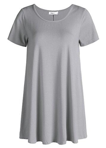 Esenchel Women's Tunic Top Casual T Shirt for Leggings 3X Gray