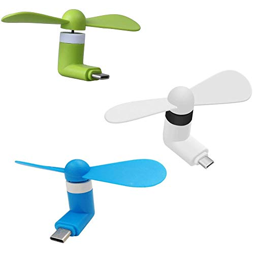 ZLMC Type C USB Mini Fans, Portable Mobile Phone Cooling Fan,[3 Packs] Compatible for LG G5 G6, Samsung Galaxy Note 8 Plus S8,Nexus 6p, and Other Android Mobile Phone (Green White Blue)
