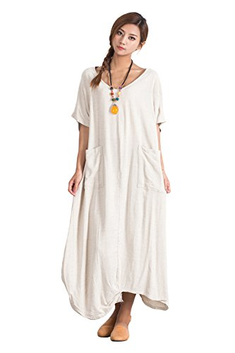 Grace Women's Linen Cotton Big Pocket Skirt Maxi Dress Large Clothing S20