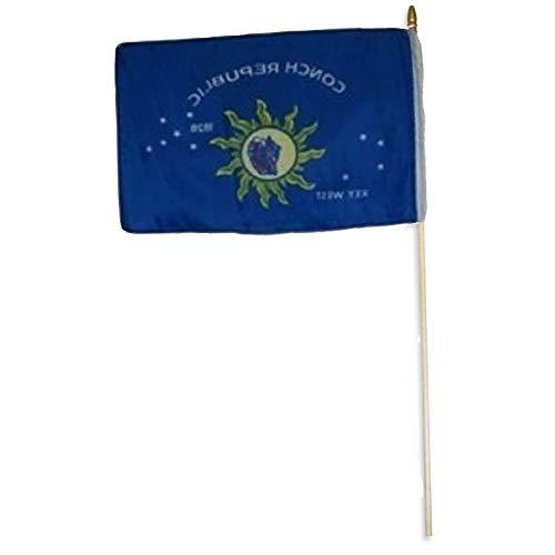 Mikash 12x18 12x18 Key West Conch Republic Stick Flag Wood STF | Model FLG - ()