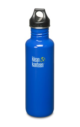 Klean Kanteen Stainless Steel Water Bottle with Poly Loop Cap (40-Ounce, Ocean Blue)