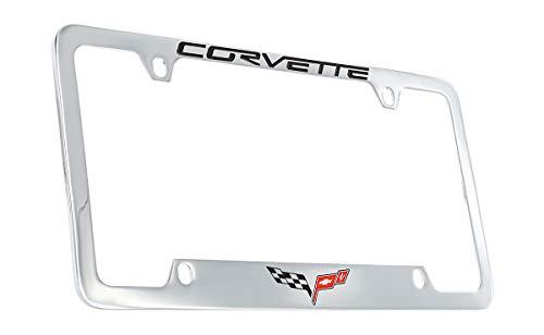 Chevrolet Corvette C6 License Plate Frame Holder (4 Hole / Brass, Chrome / Bottom)