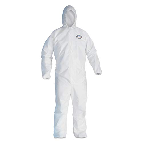 KleenGuard 44325 A40 Elastic-Cuff and Ankles Hooded Coveralls, White, 2X-Large (Case of 25)