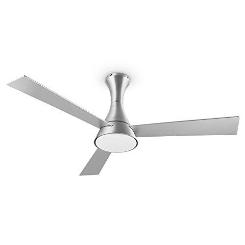 Klarstein Steeletto Deckenkenventilator Ventilator mit Licht für die Decke (134cm Rotor, mit Fernbedienung, leise 55W, 3 Rotorblätter in Aluminium-Optik, Lampe mit Milchglas, 3 Geschwindigkeiten, inkl. Decken-Halterung) silber