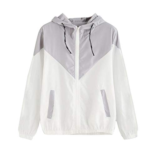 Sunhusing Ladies Thin Patchwork Long Sleeve Skinsuits Hooded Zipper Pockets Sport Coat Gray