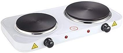 Placa calefactora eléctrica - 2500 W, quemador doble, placa de hierro fundido, carcasa de acero, blanco - Cocina de mesa, estufa, cocina portátil, ...
