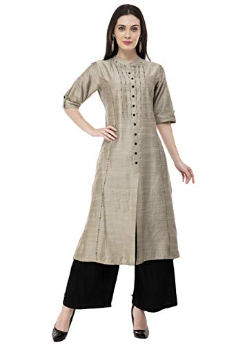 Lagi Women Designer Straight A-Line Kurta Kurtis top Tunic Dresses Polly Silk Rayon Cotton Kurtis Kurta (2XL, Gold (RK2133B)) (Indian Gold)