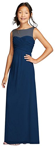 Long Mesh Dress with Illusion Tank Ruched Bodice Style JB9010, Marine, 18