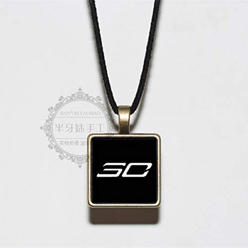 (james basketball star kobe black mamba personal logo necklace pendant chain personalized (curry black white logo)