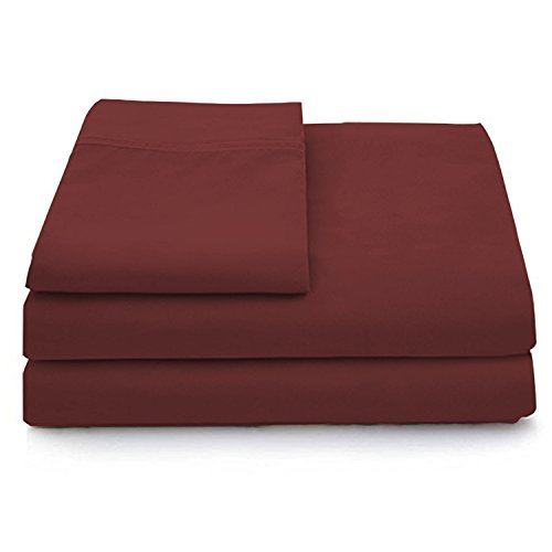 - Cosy House Collection Luxury Bamboo Bed Sheet Set - Hypoallergenic Bedding Blend from Natural Bamboo Fiber - Resists Wrinkles - 4 Piece - 1 Fitted Sheet, 1 Flat, 2 Pillowcases - Queen, Burgundy