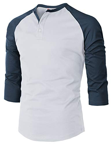 H2H Mens Casual Premium Slim Fit T-Shirts Henley 3/4 Sleeve Cotton Blended White US S/Asia M (CMTTS239)