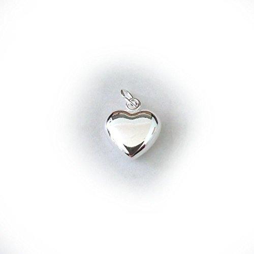 JensFindings 6 Qty. Sterling Silver Puffed Heart Charm - Medium (11x8mm)
