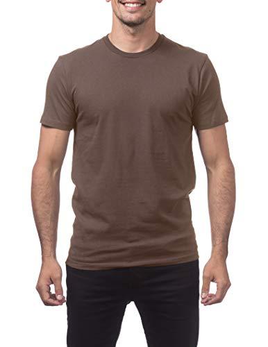Pro Club Men's Premium Lightweight Ringspun Cotton Short Sleeve T-Shirt, Brown, 2X-Large