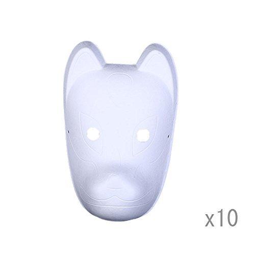 Meimask 10pcs Bricolaje Papel Blanco máscara de Pulpa en Blanco máscara Pintada a Mano Personalidad Creativa máscara de diseño Libre (Zorro)