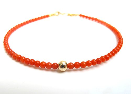 JP_Beads Natural Orange Coral Beads 14k Solid Gold Filled Filled Bracelet Small Bead Yellow Gold Filled Filled 4mm
