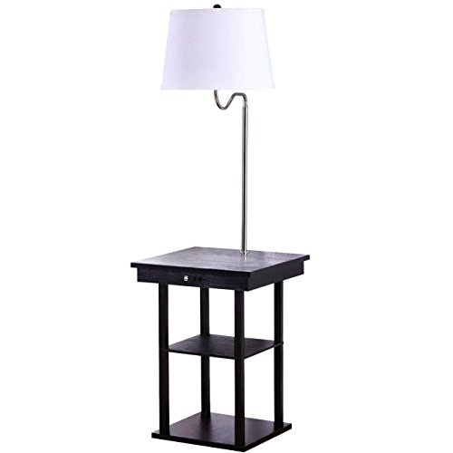 Floor lamps with table attached amazon brightech madison floor lamp with built in two tier black table with open display space outfitted with 2 usb ports and us standard outlet for aloadofball Image collections