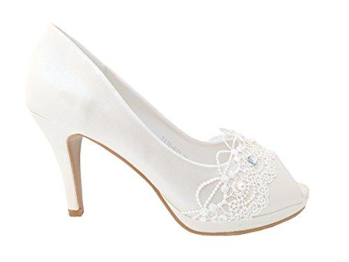 Maggie Boutique White Pearl Peep-Toe Wedding Stiletto High Heels aN6mDh