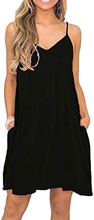 BEUFRI Women Summer Casual Sleeveless T Shirt Dresses Beach Cover up Plain Tank Dress with Pockets