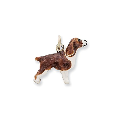 Sterling Silver Enameled English Springer Spaniel Charm (English Springer Spaniel Charm)