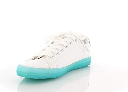 Vert Pu Plateforme De Cuir Femme Sneakers Basket Brillants Confortables Lacets Sport Bicolore Chaussures 7qHTF
