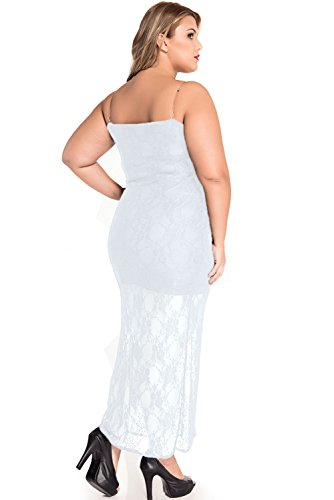 Neue Frau Plus Größe Weiß Lace Maxi Kleid Ball Kleid Abend Party ...