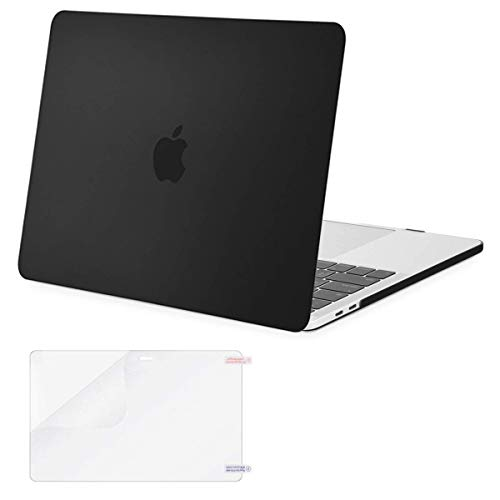 MOSISO MacBook Pro 13 inch Case 2019 2018 2017 2016 Release A2159 A1989 A1706 A1708, Plastic Hard Shell Cover & Screen Protector Compatible with MacBook Pro 13 with/Without Touch Bar, Black (Best Case For Macbook Pro Retina 2019)