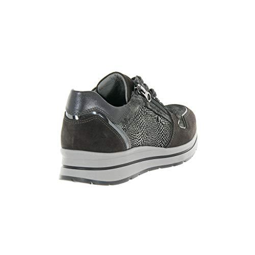 A806411d103 Giardini Sneaker Scarpe Pelle Donna Camoscio Carbone Laminata Nero E xz7Pfqx