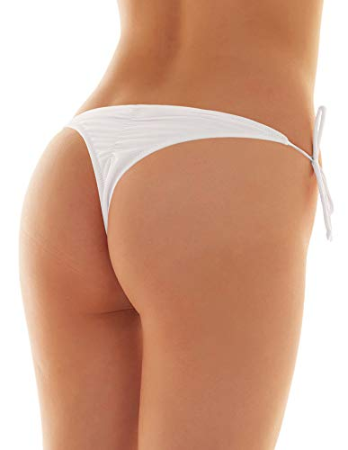 SHEKINI Womens Brazilian Low Rise Tie-Side Ruched Back Thong Bikini Bottom Swim Brief (Medium/(US 8-10), Venice White)]()