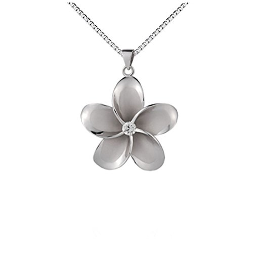 Plumeria Pendant Necklace - Large Sterling Silver 925 Cubic Zirconia Plumeria Pendant Necklace