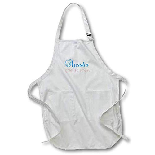 3dRose Alexis Design - American Cities California - Arcadia, California, red, Blue Text. Patriotic Home Town Design - Full Length Apron with Pockets 22w x 30l (apr_302740_1)