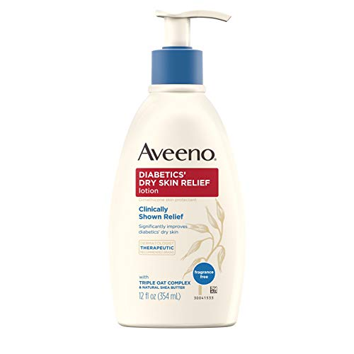 Aveeno Diabetics' Dry Skin Relief Lotion with Triple Oat Complex & Natural Shea Butter, Steroid-Free & Fragrance-Free Dimethicone Skin Protectant for Diabetic Skin Care, 12 fl. oz ()