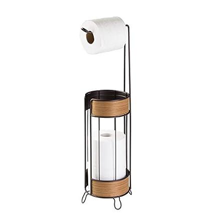 mDesign Portarrollos de pie para colocar sin tornillos - Portarrollo papel higienico para el baño -