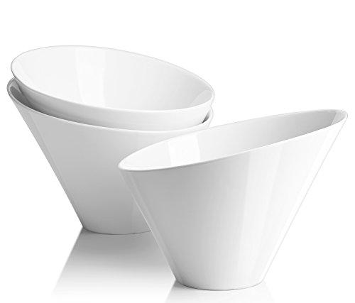 French Dinnerware Soup Bowl (DOWAN Porcelain Salad Bowls/French Fries Serving Bowls Set 3 Packs- 25 OZ, White,Irregular)