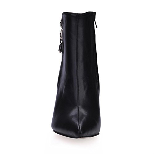 Autumn Black Zipper Best Stiletto 7CM Buckle 4U Rubber Boots Shoes Winter PU Metal Heels Pointed Toe High Premium Women's Sole 9 FwRqFT