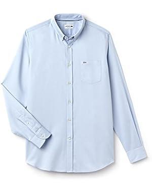 Lacoste Men's Men's Light Blue Mini Pique Shirt in Size 44-XL Blue