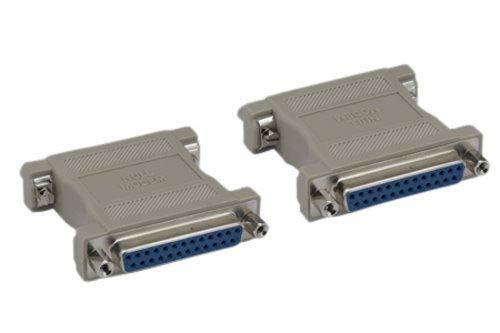 Kentek DB25 Female to Female F/F Molded Null Modem Adapter Gender Changer Coupler RS-232 Crossover Type Data Transfer DTE DCE ()