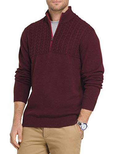 IZOD Men's Newport Cable Knit Quater-Zip Pullover Sweater (Fig, XXL) (Izod Sweater Cable)
