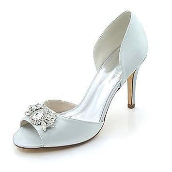 b189ba8c8746 Wuyulunbi  Damenschuhe Satin Frühling Sommer Basic Pumpe Hochzeit Schuhe  Stiletto Heel Peep Toe Strass für Hochzeit Party   am Abend ein Glas  Champagner  ...