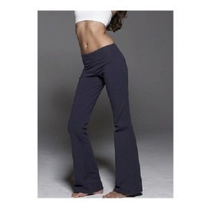 Amazon.com: Ladies Foldover Cotton Spandex Yoga Pants, XL Navy ...