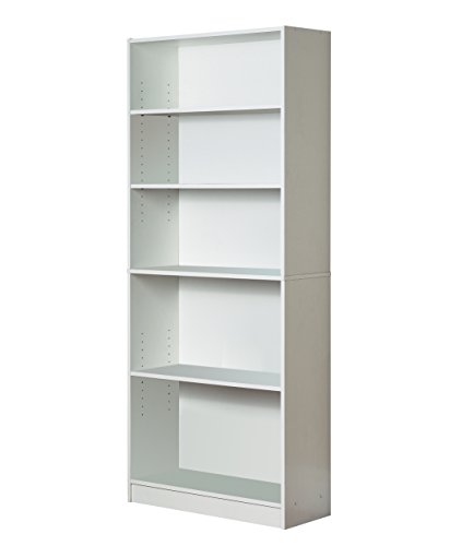 Mylex Five Shelf Bookcase; Three Adjustable Shelves; 11.63 x 29.63 x 71.5 Inches, White, Assembly Required (43071) (White Bookcase With Baskets)